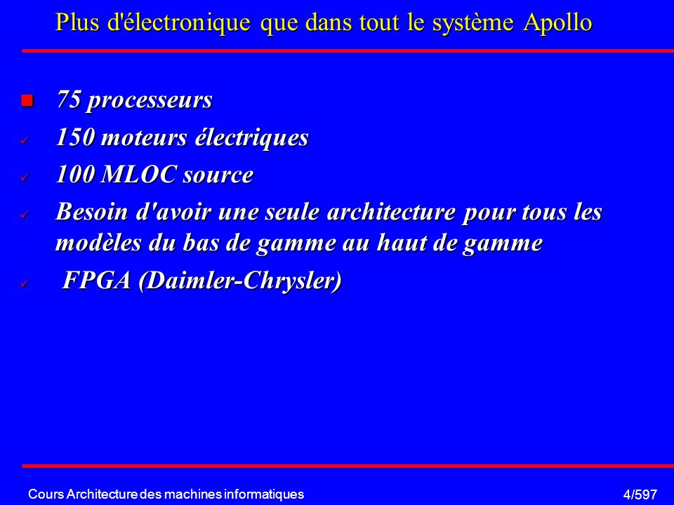 Cours Architecture des machines informatiques 15/597 Floating Point Unit: Etage de réduction S 1 exp 1 mantisse 1 H S 2 exp 2 mantisse 2 S 1 exp 1 mantisse 1 S 2 exp 2 mantisse 2 Comparaison exposants Modification d un exposant, Décalage d une mantisse fadd