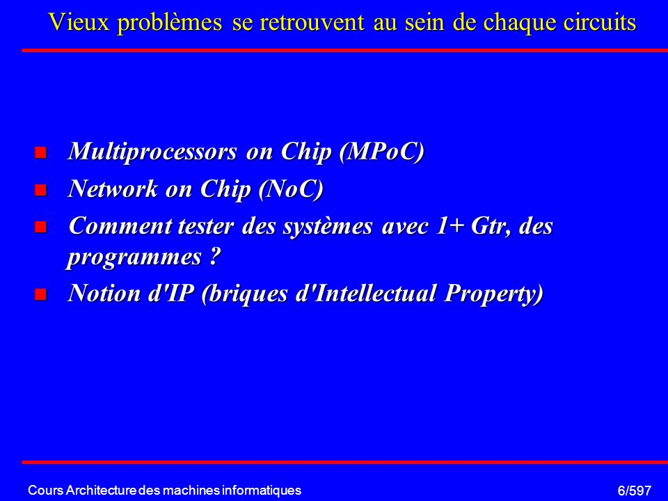 Cours Architecture des machines informatiques 17/597 Floating Point Unit: Etage de normalisation H S exp mantisse Suivant valeur de la mantisse, et de l exposant Modification de l exposant, Décalages de la mantisse S exp mantisse