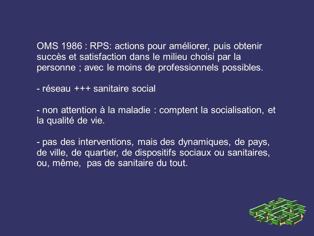 OMS 1986 : RPS: actions pour améliorer, puis obtenir succès et satisfaction dans le milieu choisi par la personne ; avec le moins de professionnels possibles.