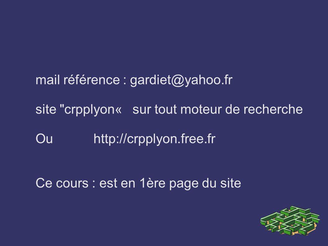 mail référence : gardiet@yahoo.fr site crpplyon« sur tout moteur de recherche Ou http://crpplyon.free.fr Ce cours : est en 1ère page du site