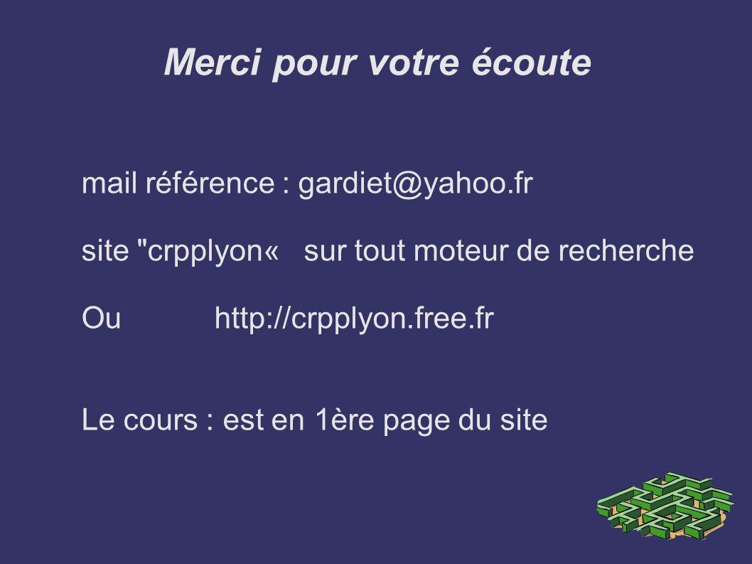 Merci pour votre écoute mail référence : gardiet@yahoo.fr site crpplyon« sur tout moteur de recherche Ou http://crpplyon.free.fr Le cours : est en 1ère page du site