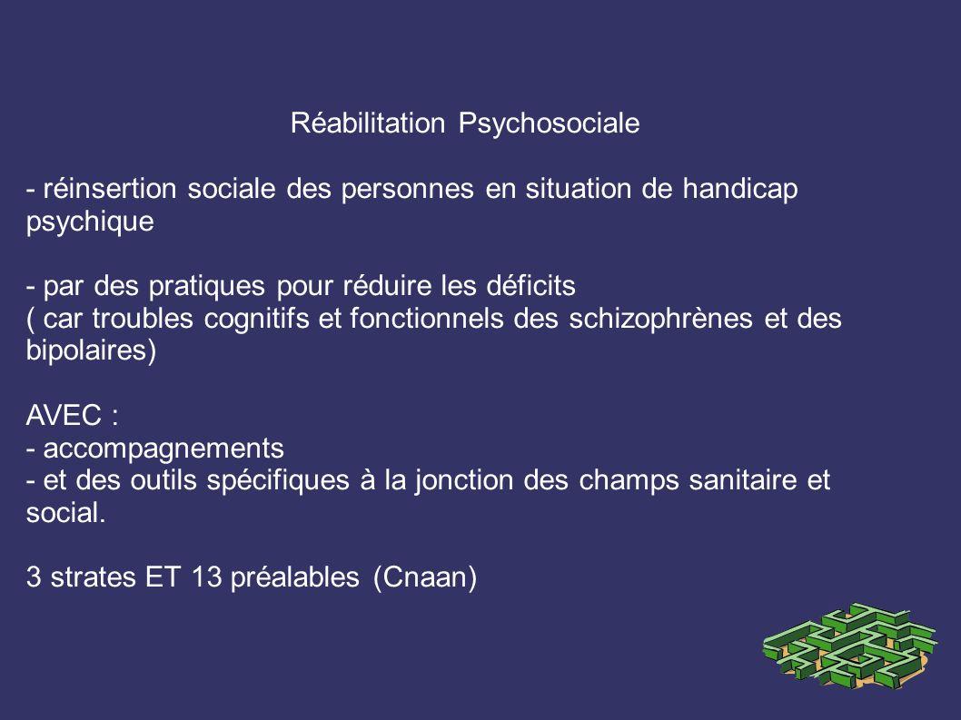 Réabilitation Psychosociale - réinsertion sociale des personnes en situation de handicap psychique - par des pratiques pour réduire les déficits ( car troubles cognitifs et fonctionnels des schizophrènes et des bipolaires) AVEC : - accompagnements - et des outils spécifiques à la jonction des champs sanitaire et social.