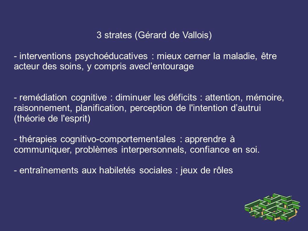 3 strates (Gérard de Vallois) - interventions psychoéducatives : mieux cerner la maladie, être acteur des soins, y compris aveclentourage - remédiatio