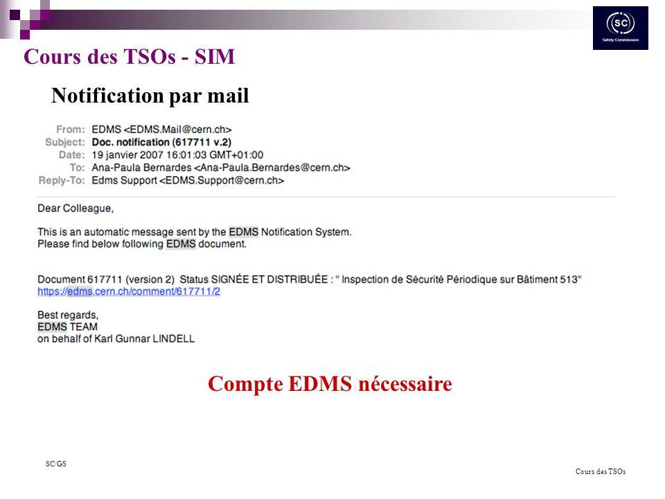 Cours des TSOs SC/GS Cours des TSOs - SIM Démarche similaire pour les équipements