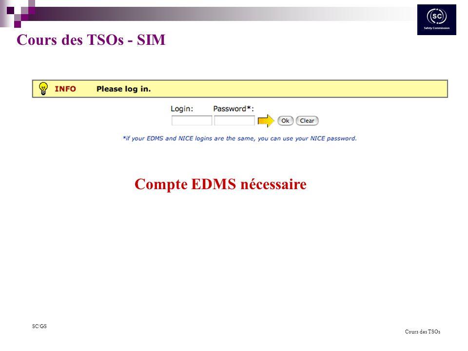 Cours des TSOs SC/GS Futurs Possibilités -Interface de recherche en cours de test Vous avez besoin de nouvelles fonctionnalités ou en cas de problème, contacter: edms.support@cern.ch