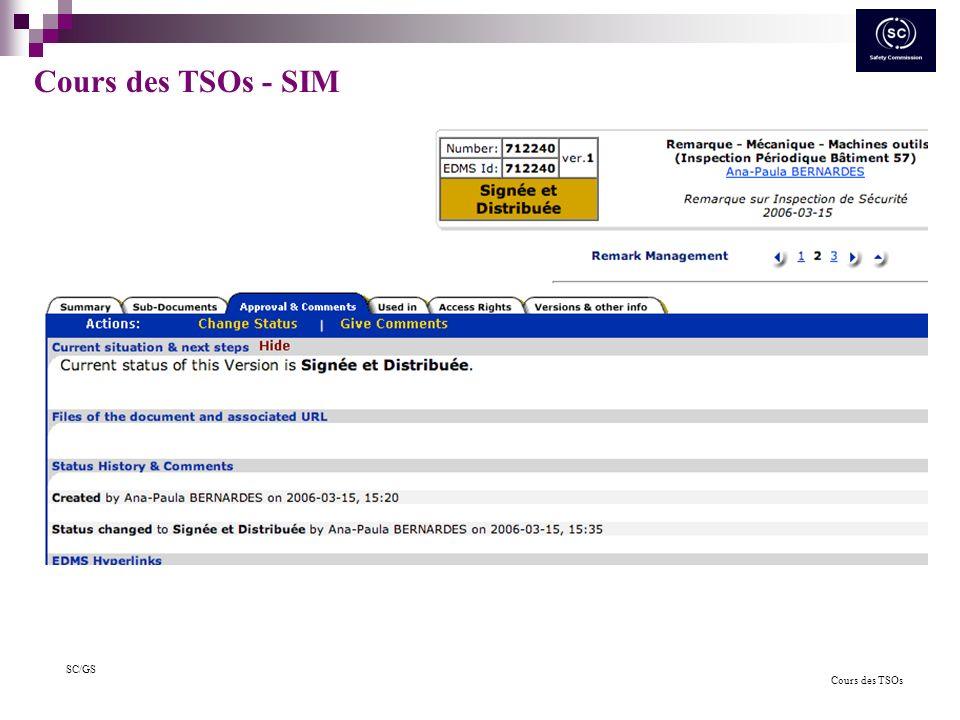 Cours des TSOs SC/GS Cours des TSOs - SIM