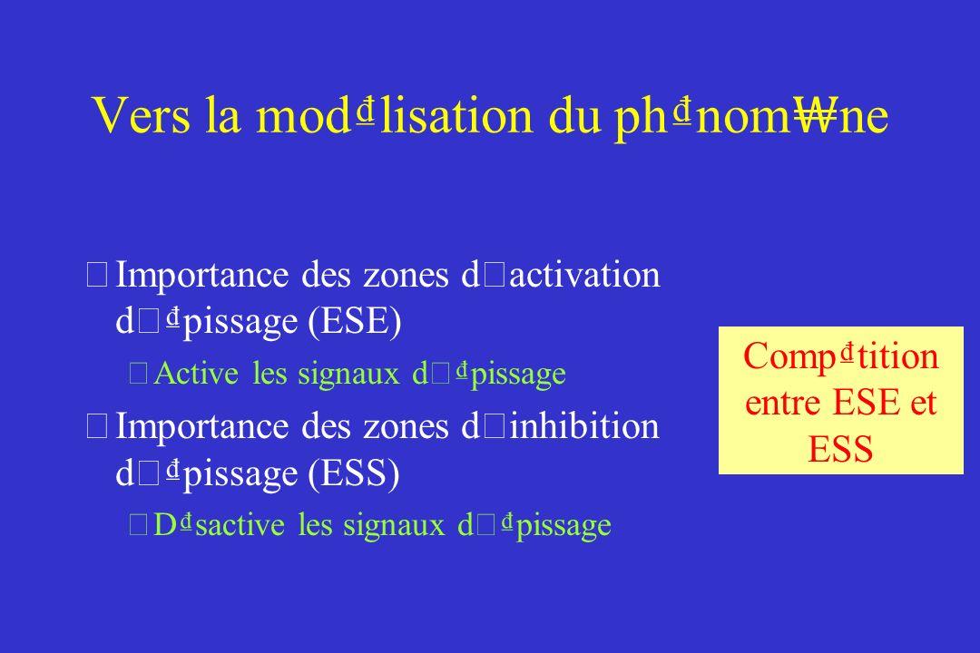 Vers la modlisation du phnom ne Importance des zones d ' activation d ' pissage (ESE) Active les signaux d ' pissage Importance des zones d ' inhibition d ' pissage (ESS) Dsactive les signaux d ' pissage Comptition entre ESE et ESS