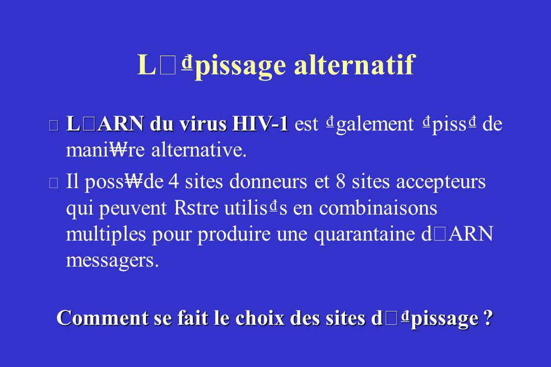 L ' pissage alternatif L ' ARN du virus HIV-1 L ' ARN du virus HIV-1 est galement piss de mani re alternative.