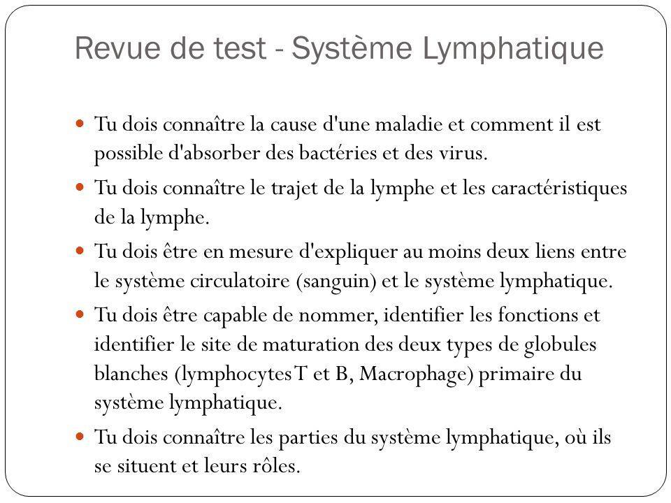 Revue de test - Système Lymphatique Tu dois connaître la cause d'une maladie et comment il est possible d'absorber des bactéries et des virus. Tu dois