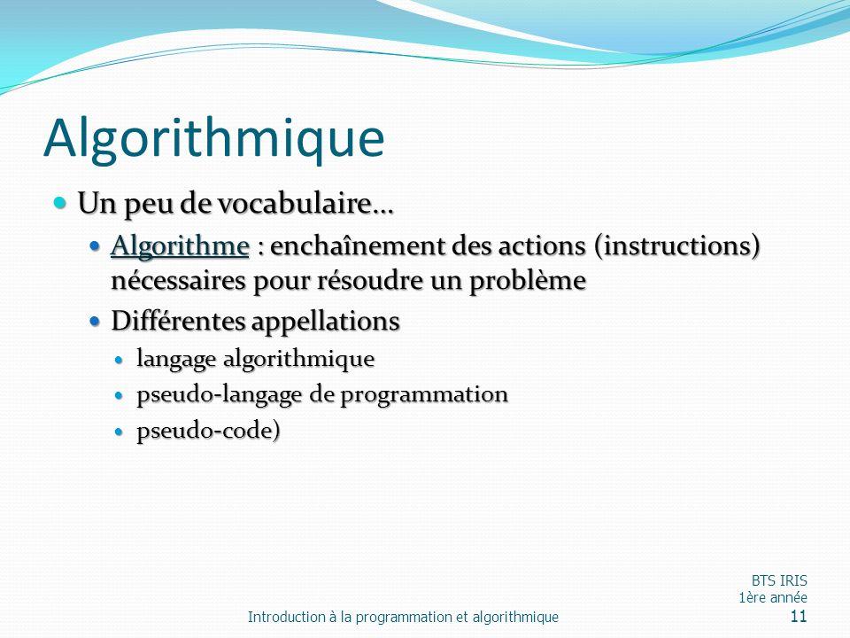 Algorithmique Un peu de vocabulaire… Un peu de vocabulaire… Algorithme : enchaînement des actions (instructions) nécessaires pour résoudre un problème