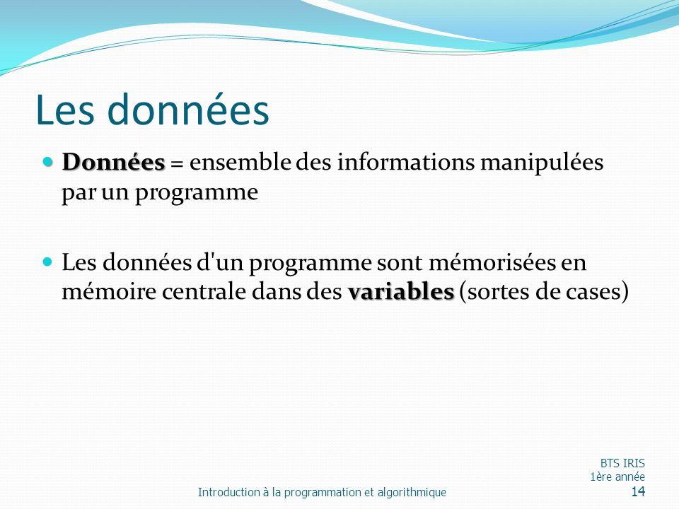 Les données Données Données = ensemble des informations manipulées par un programme variables Les données d'un programme sont mémorisées en mémoire ce
