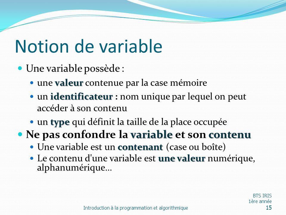 Notion de variable Une variable possède : valeur une valeur contenue par la case mémoire identificateur un identificateur : nom unique par lequel on p