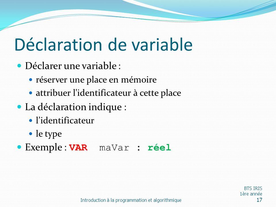 Déclaration de variable Déclarer une variable : réserver une place en mémoire attribuer l'identificateur à cette place La déclaration indique : lident