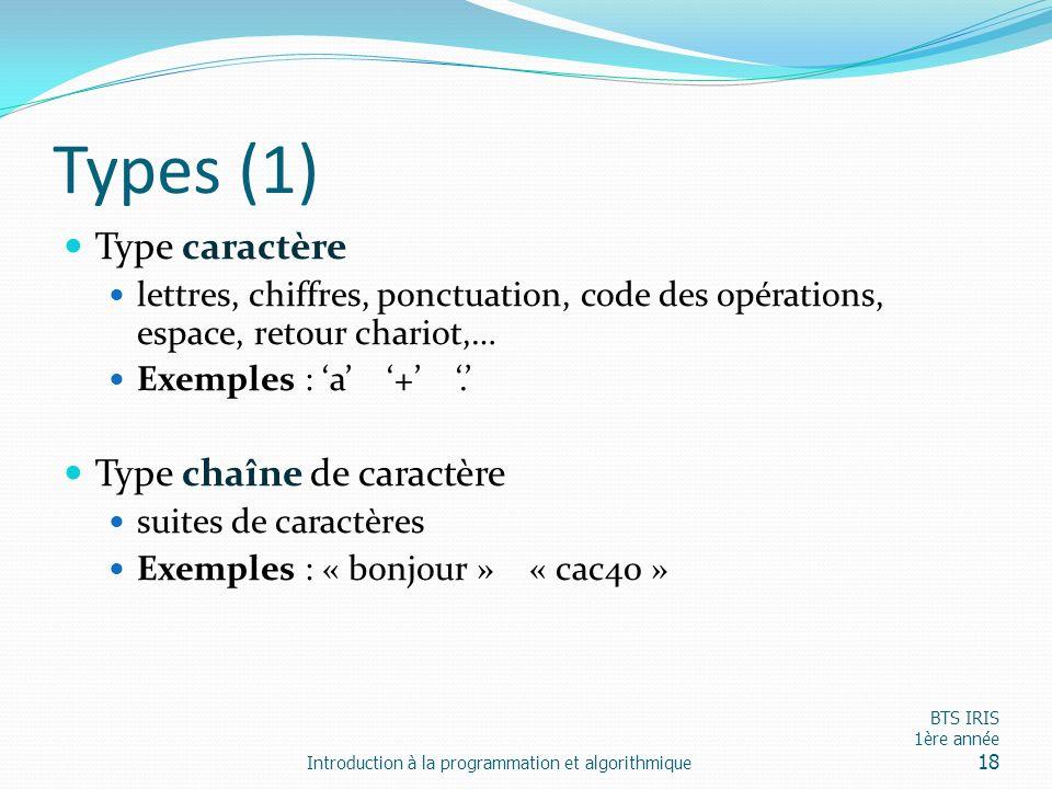 Types (1) Type caractère lettres, chiffres, ponctuation, code des opérations, espace, retour chariot,… Exemples : a +. Type chaîne de caractère suites
