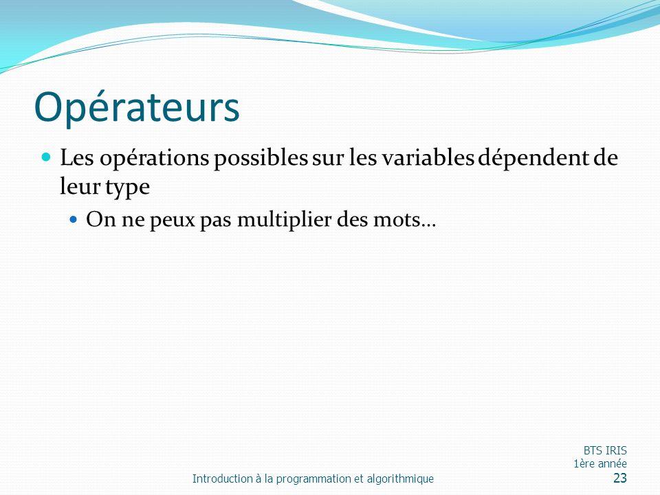 Opérateurs Les opérations possibles sur les variables dépendent de leur type On ne peux pas multiplier des mots… Introduction à la programmation et al