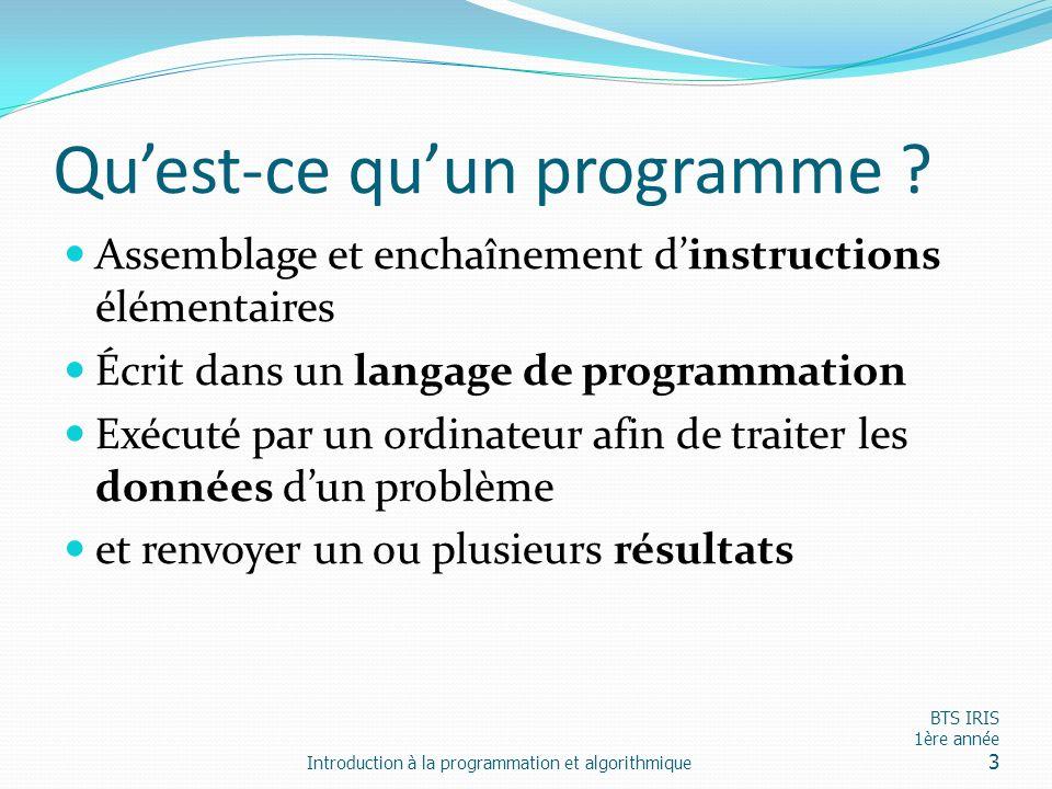Quest-ce quun programme ? Assemblage et enchaînement dinstructions élémentaires Écrit dans un langage de programmation Exécuté par un ordinateur afin