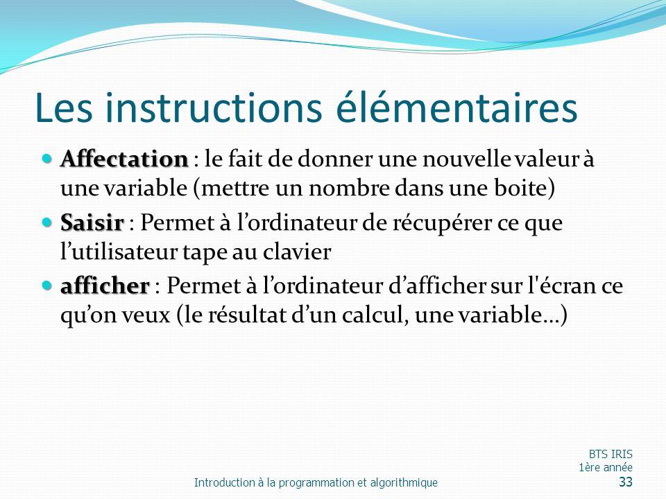 Les instructions élémentaires Affectation Affectation : le fait de donner une nouvelle valeur à une variable (mettre un nombre dans une boite) Saisir
