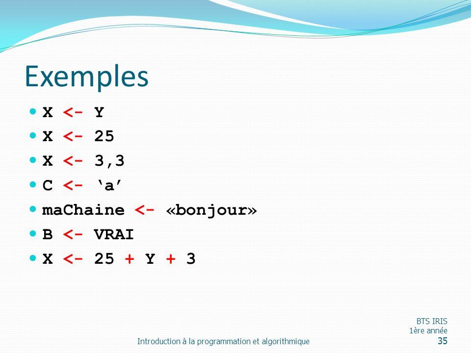 Exemples X <- Y X <- 25 X <- 3,3 C <- a maChaine <- «bonjour» B <- VRAI X <- 25 + Y + 3 Introduction à la programmation et algorithmique BTS IRIS 1ère