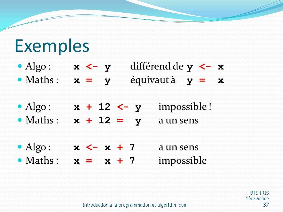 Exemples Algo : x <- y différend de y <- x Maths : x = y équivaut à y = x Algo : x + 12 <- y impossible ! Maths : x + 12 = y a un sens Algo : x <- x +