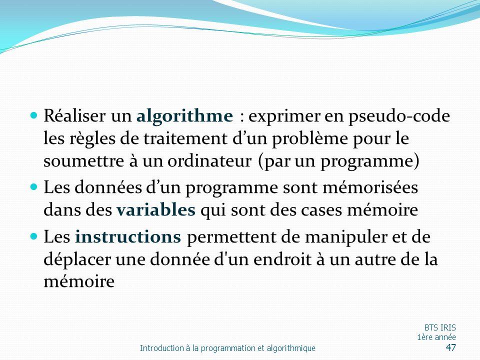 Réaliser un algorithme : exprimer en pseudo-code les règles de traitement dun problème pour le soumettre à un ordinateur (par un programme) Les donnée