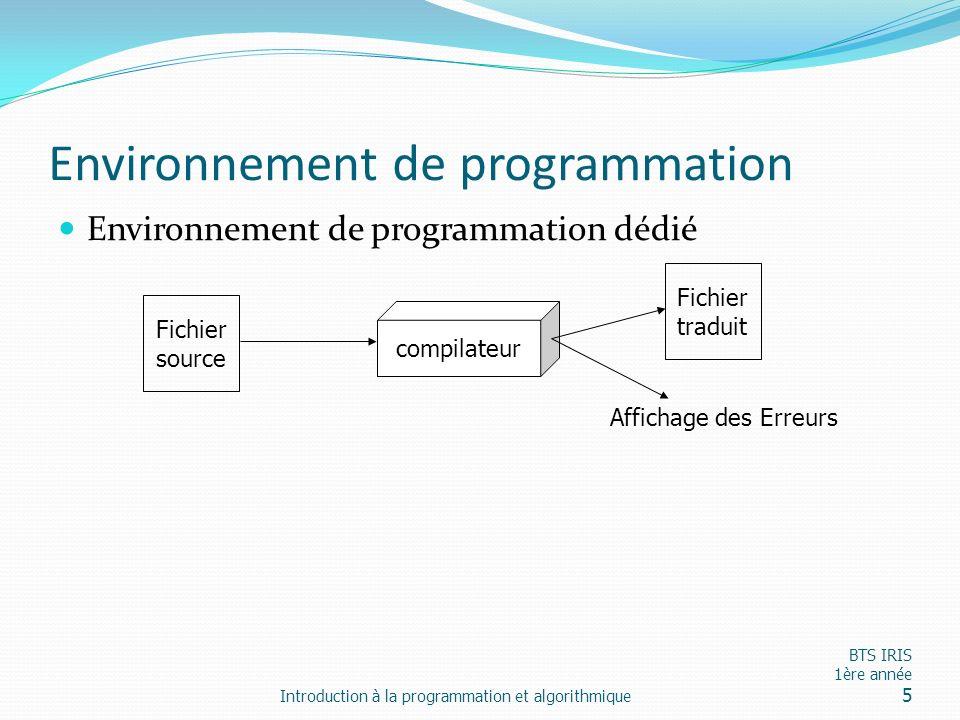 Environnement de programmation Environnement de programmation dédié Introduction à la programmation et algorithmique BTS IRIS 1ère année 5 Fichier sou