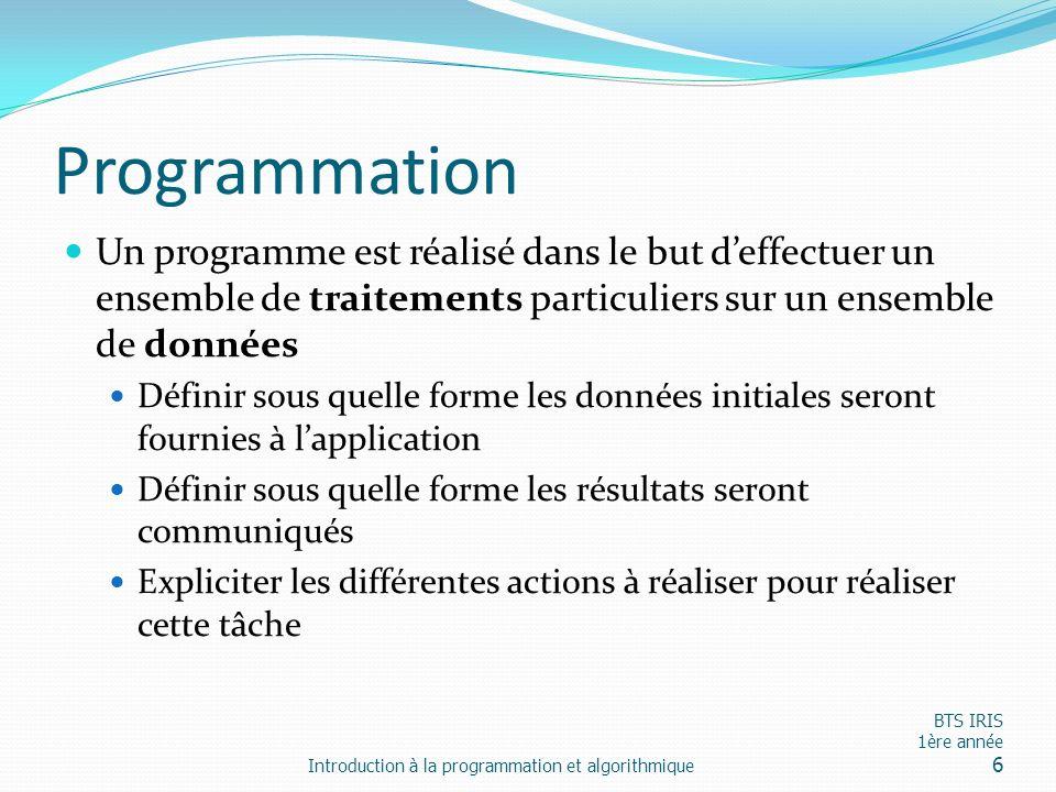 Programmation Un programme est réalisé dans le but deffectuer un ensemble de traitements particuliers sur un ensemble de données Définir sous quelle f