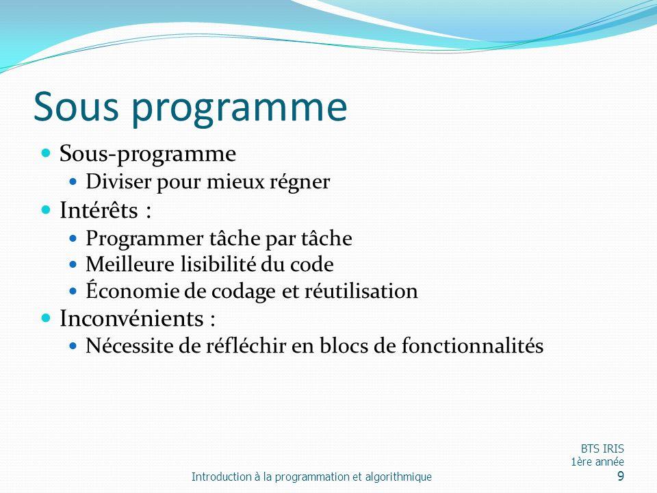 Sous programme Sous-programme Diviser pour mieux régner Intérêts : Programmer tâche par tâche Meilleure lisibilité du code Économie de codage et réuti