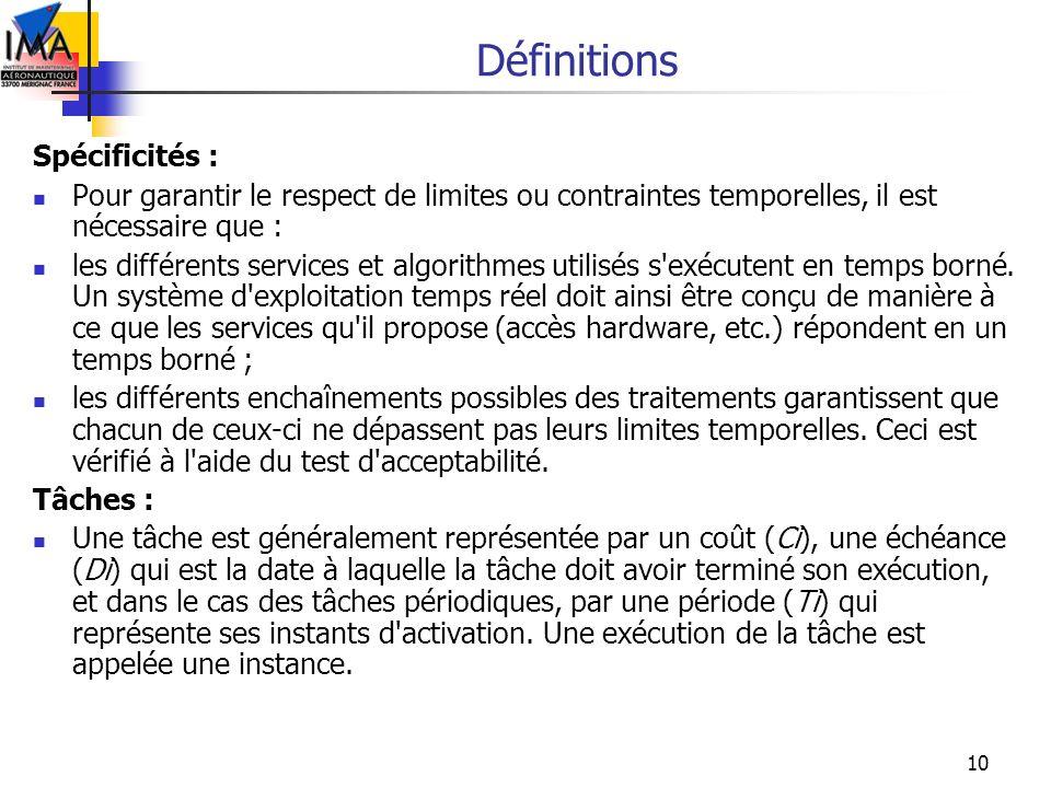10 Définitions Spécificités : Pour garantir le respect de limites ou contraintes temporelles, il est nécessaire que : les différents services et algor