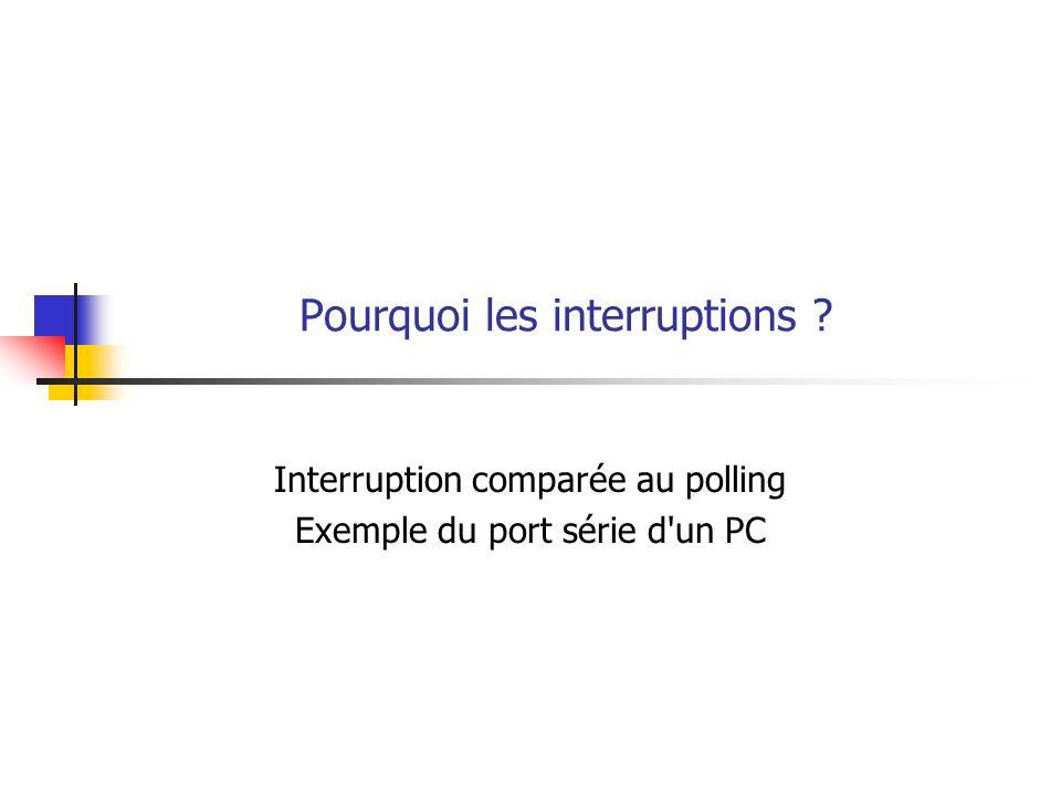 Pourquoi les interruptions ? Interruption comparée au polling Exemple du port série d'un PC