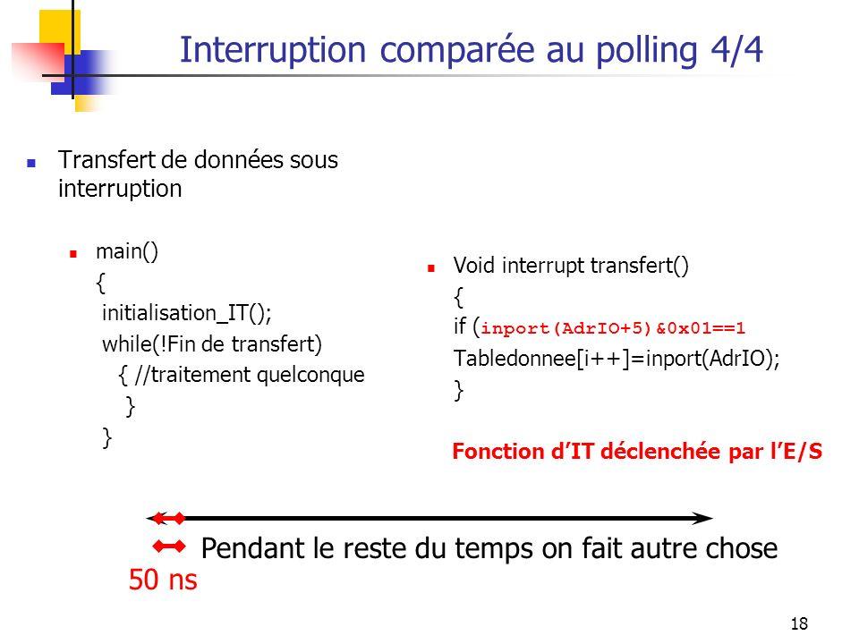 18 Interruption comparée au polling 4/4 Transfert de données sous interruption main() { initialisation_IT(); while(!Fin de transfert) { //traitement q