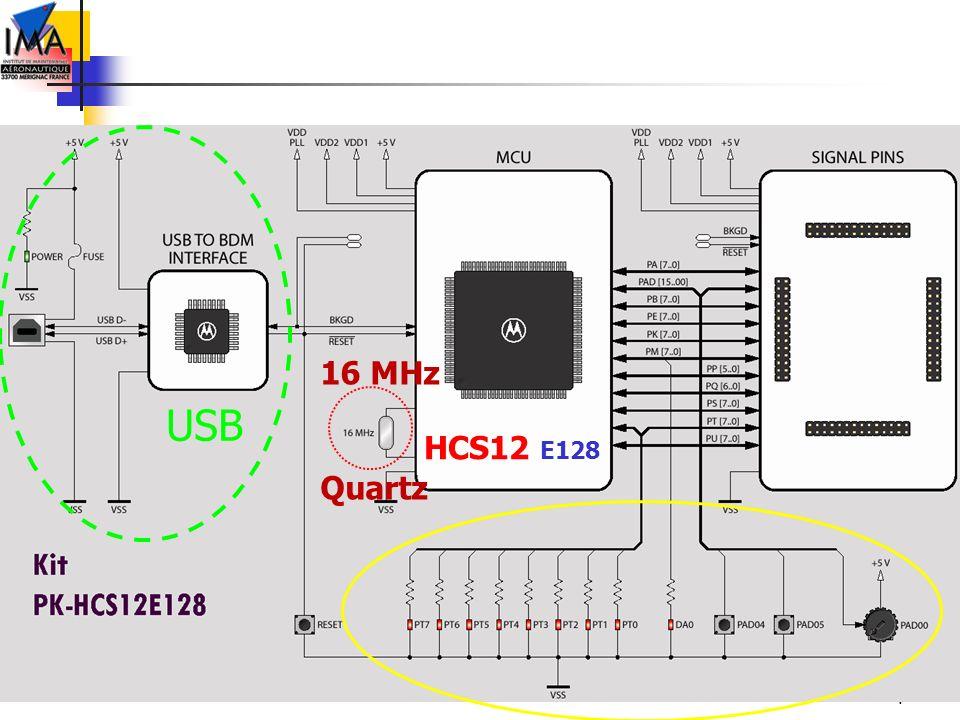 4 HCS12 E128 USB 16 MHz Quartz
