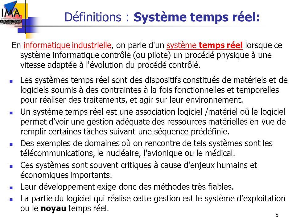 5 Définitions : Système temps réel: En informatique industrielle, on parle d'un système temps réel lorsque ce système informatique contrôle (ou pilote