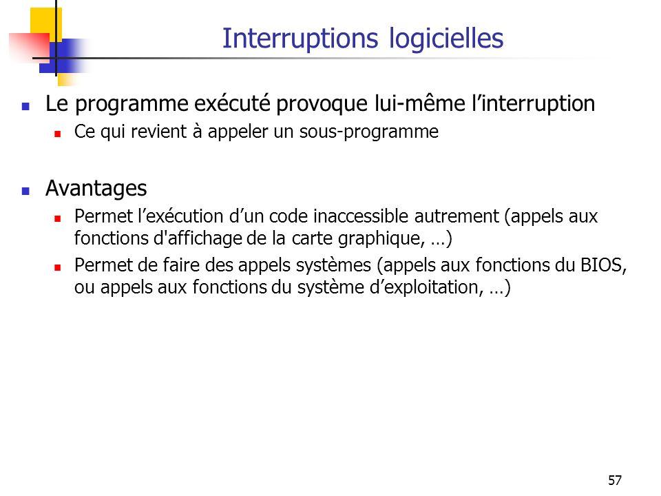 57 Interruptions logicielles Le programme exécuté provoque lui-même linterruption Ce qui revient à appeler un sous-programme Avantages Permet lexécuti