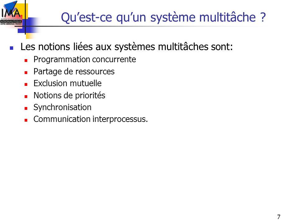 7 Quest-ce quun système multitâche ? Les notions liées aux systèmes multitâches sont: Programmation concurrente Partage de ressources Exclusion mutuel