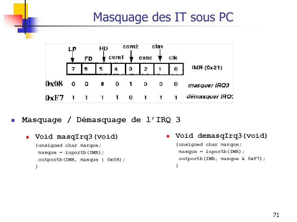 71 Masquage des IT sous PC Masquage / Démasquage de lIRQ 3 Void masqIrq3(void) {unsigned char marque; masque = inportb(IMR); outportb(IMR, masque | 0x