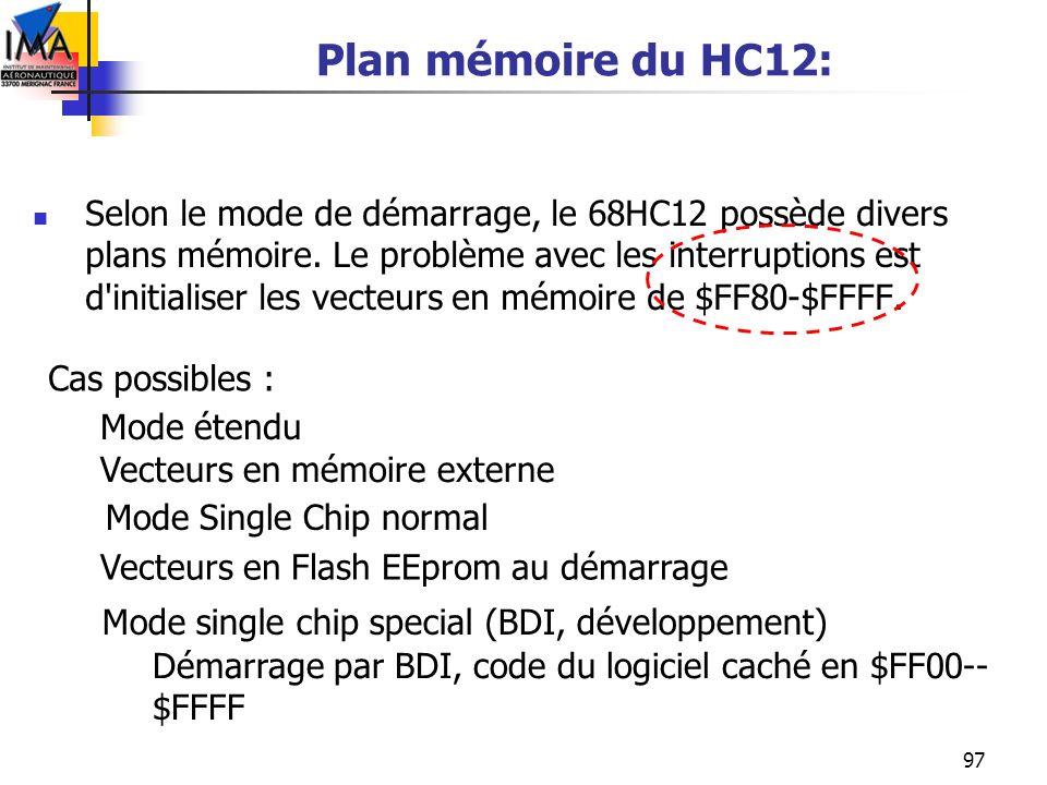 97 Plan mémoire du HC12: Selon le mode de démarrage, le 68HC12 possède divers plans mémoire. Le problème avec les interruptions est d'initialiser les