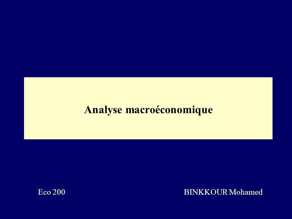 Analyse macroéconomique Eco 200 BINKKOUR Mohamed