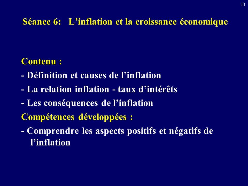11 Séance 6: Linflation et la croissance économique Contenu : - Définition et causes de linflation - La relation inflation - taux dintérêts - Les cons