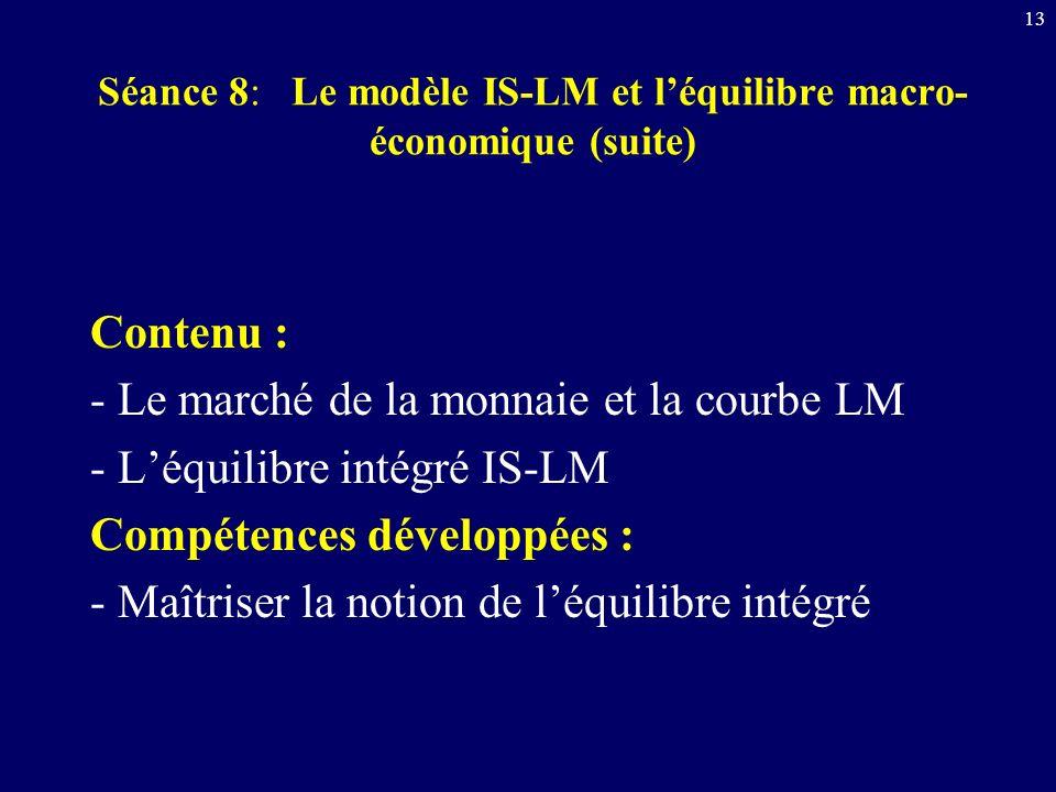 13 Séance 8: Le modèle IS-LM et léquilibre macro- économique (suite) Contenu : - Le marché de la monnaie et la courbe LM - Léquilibre intégré IS-LM Co