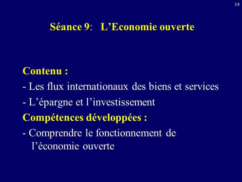 14 Séance 9: LEconomie ouverte Contenu : - Les flux internationaux des biens et services - Lépargne et linvestissement Compétences développées : - Com