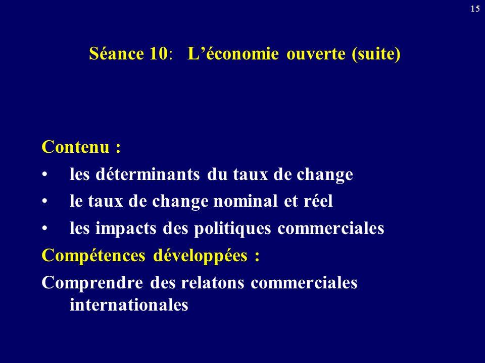 15 Séance 10: Léconomie ouverte (suite) Contenu : les déterminants du taux de change le taux de change nominal et réel les impacts des politiques comm