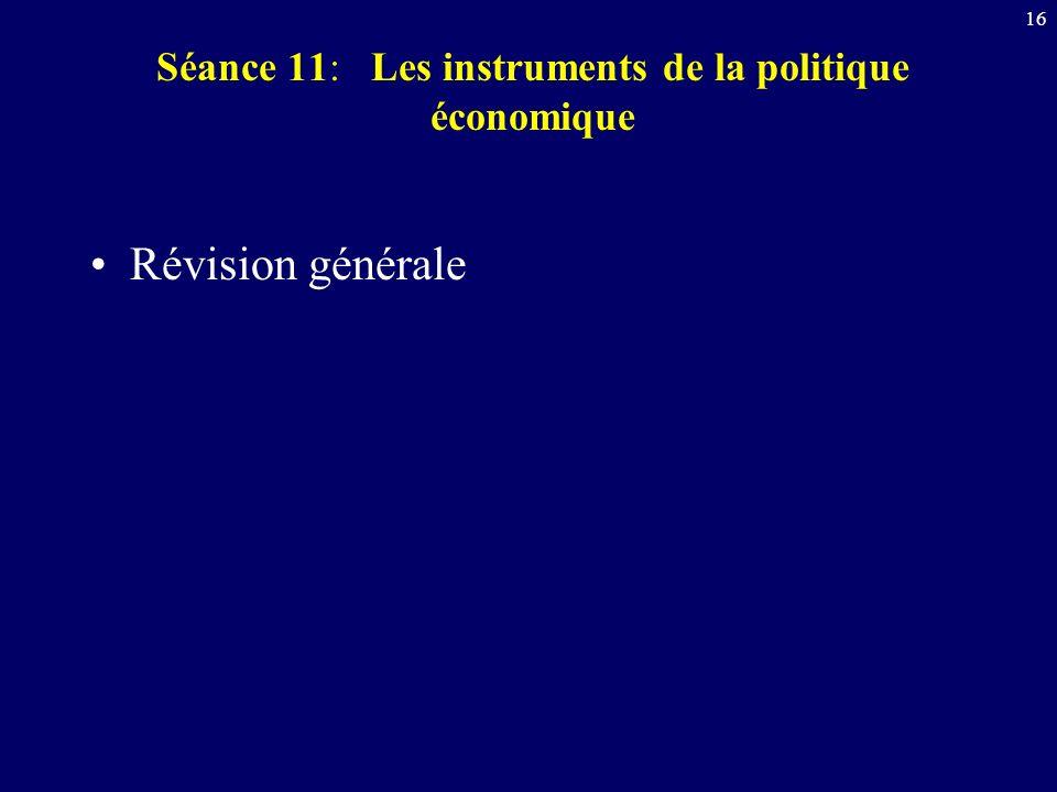 16 Séance 11: Les instruments de la politique économique Révision générale