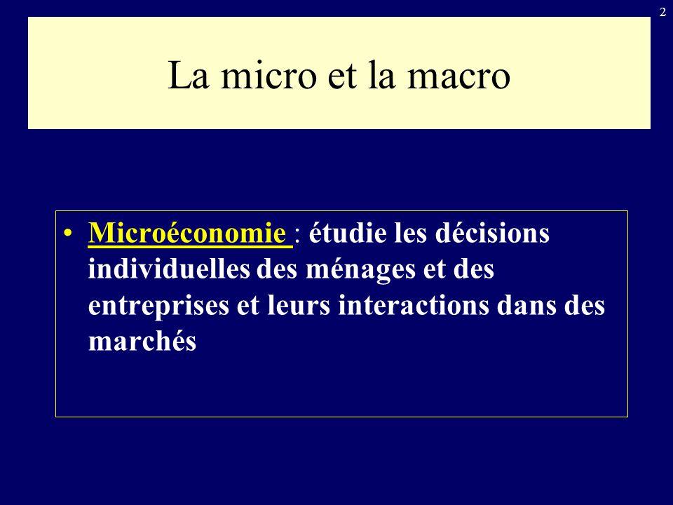 2 La micro et la macro Microéconomie : étudie les décisions individuelles des ménages et des entreprises et leurs interactions dans des marchés