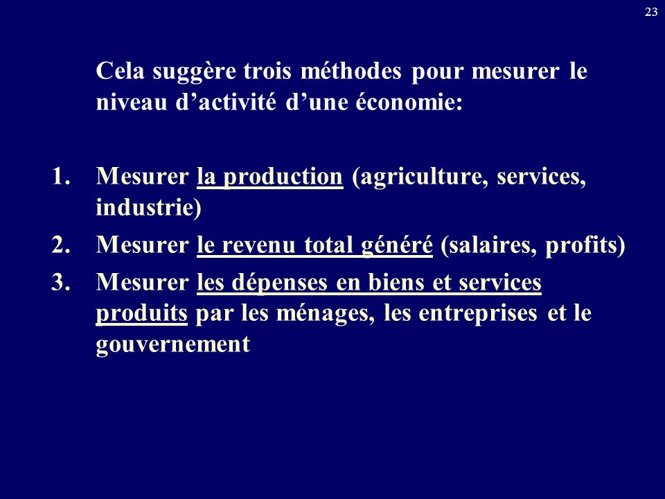 23 Cela suggère trois méthodes pour mesurer le niveau dactivité dune économie: 1.Mesurer la production (agriculture, services, industrie) 2.Mesurer le