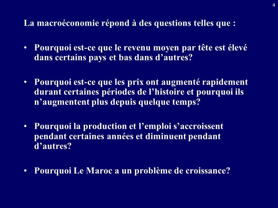 4 La macroéconomie répond à des questions telles que : Pourquoi est-ce que le revenu moyen par tête est élevé dans certains pays et bas dans dautres?