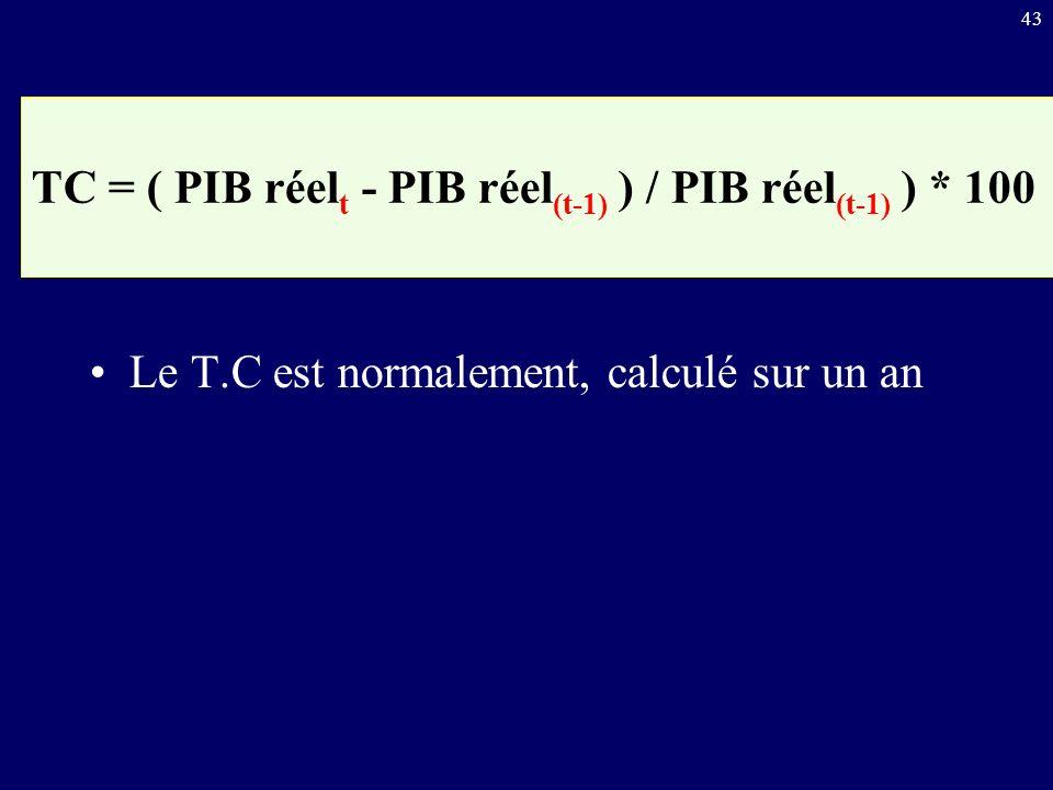43 Le T.C est normalement, calculé sur un an TC = ( PIB réel t - PIB réel (t-1) ) / PIB réel (t-1) ) * 100