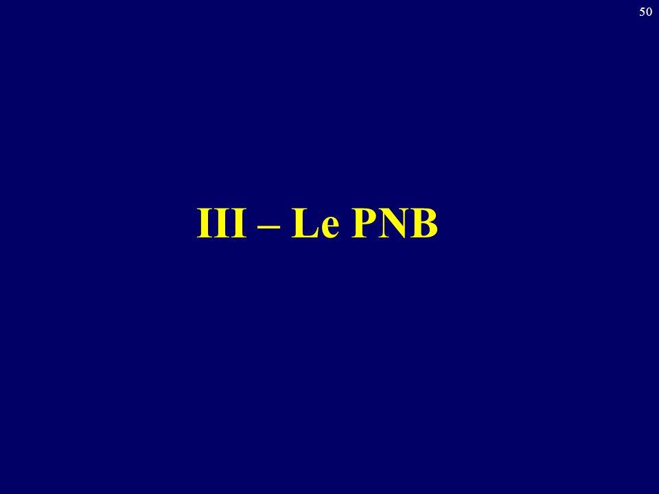 50 III – Le PNB