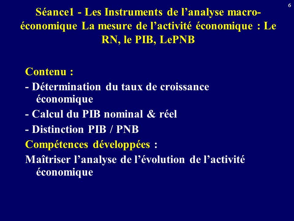 6 Séance1 - Les Instruments de lanalyse macro- économique La mesure de lactivité économique : Le RN, le PIB, LePNB Contenu : - Détermination du taux d