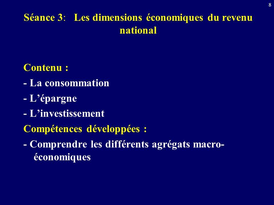 8 Séance 3: Les dimensions économiques du revenu national Contenu : - La consommation - Lépargne - Linvestissement Compétences développées : - Compren