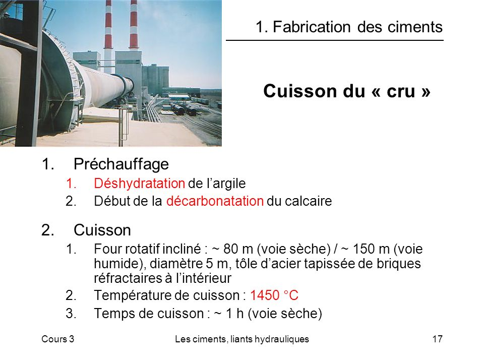 Cours 3Les ciments, liants hydrauliques17 1.